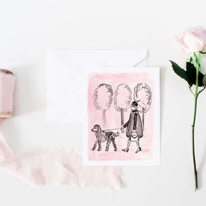 pink and black girl with poodle greeting card