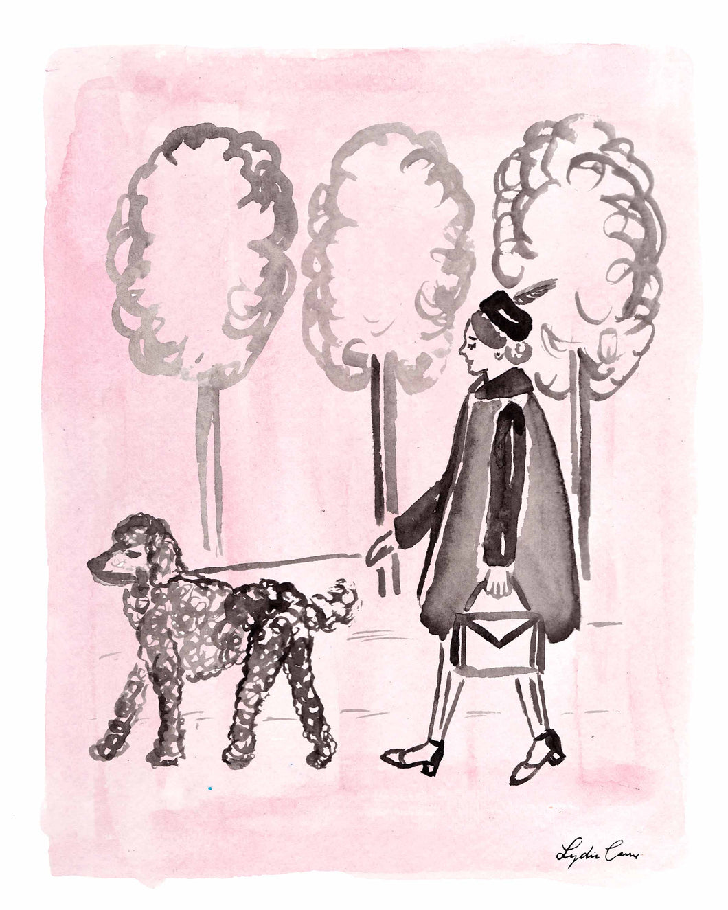 pink and black poodle and girl watercolor art print