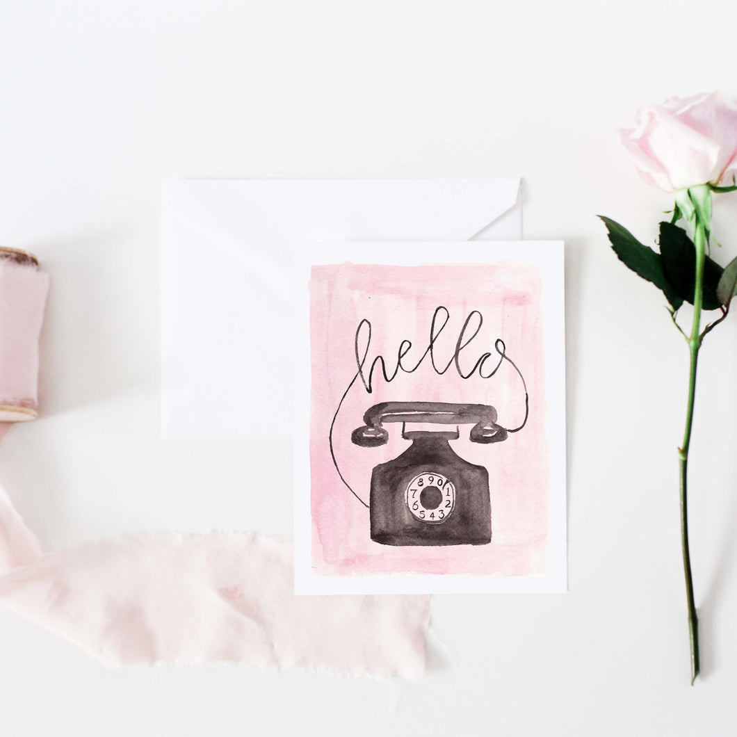 Pink Vintage Phone Notecard