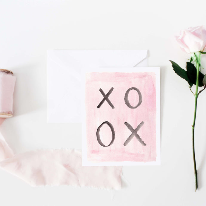 pink and black watercolor xo hugs and kisses greeting card