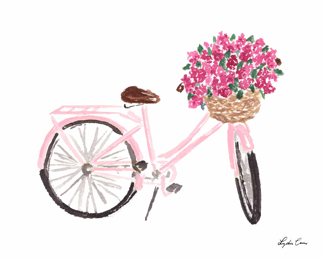 Pink Bicycle with Flowers Art Print
