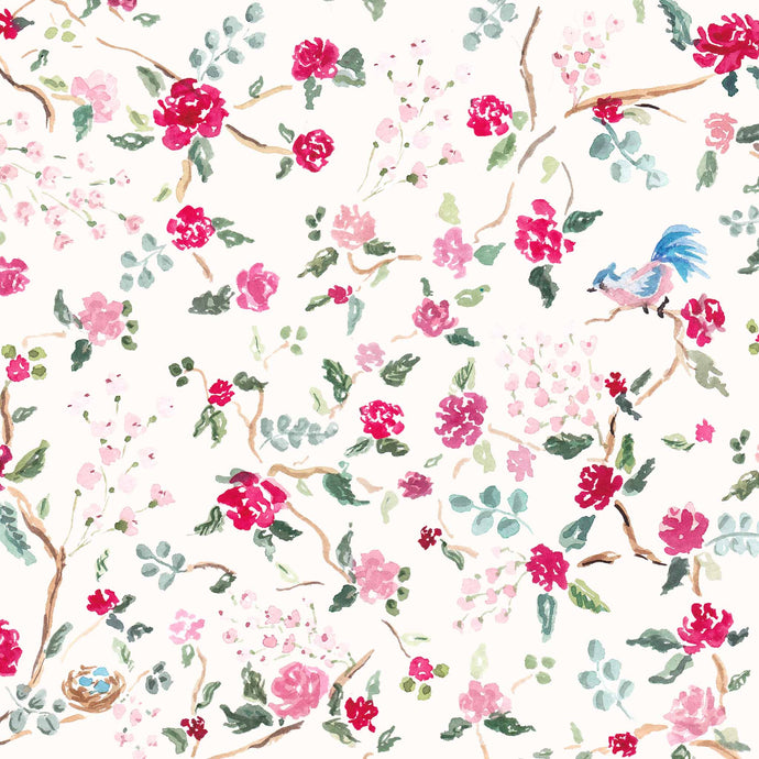 pink blue birds nest chinoiserie spring gift wrap