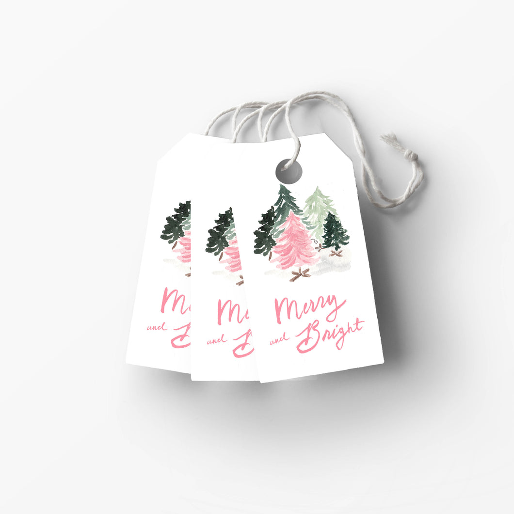 Merry and Bright Pink and Green Vintage Christmas Trees Gift Tag the illustrated life