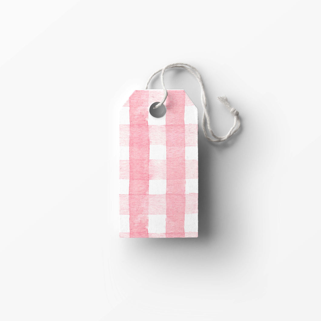 Pink Gingham Gift Tags