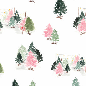 pink green retro christmas tree gift wrap
