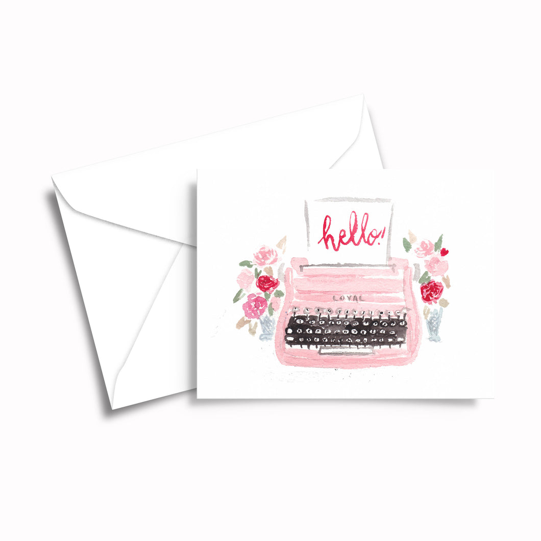 Retro Pink Typewriter Greeting Cards
