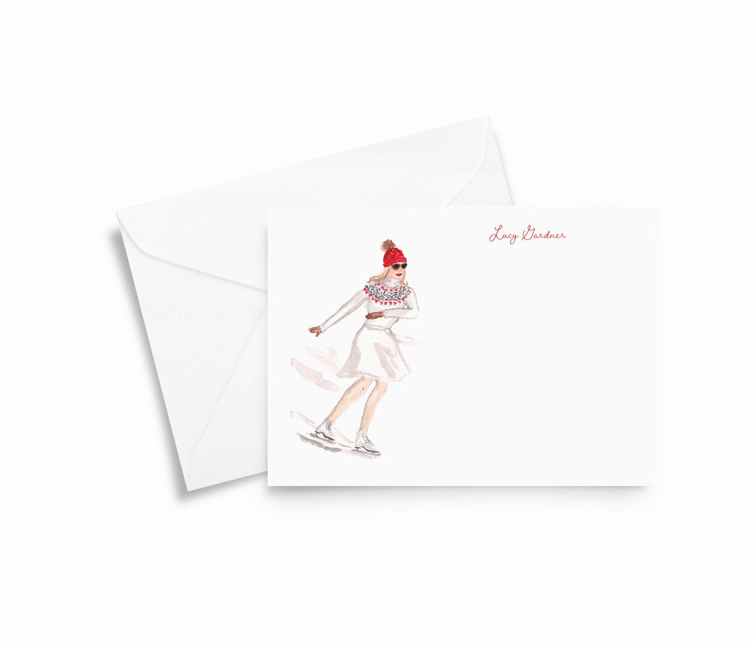 Ice Skating Girl Personalized Stationery