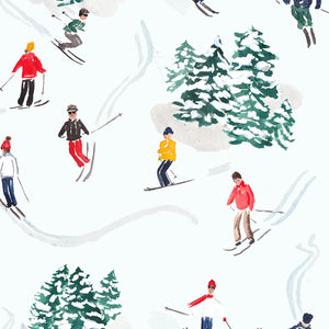 skiers watercolor christmas wrapping paper the illustrated life