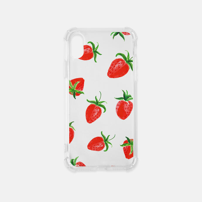 strawberries iphone case clear watercolor