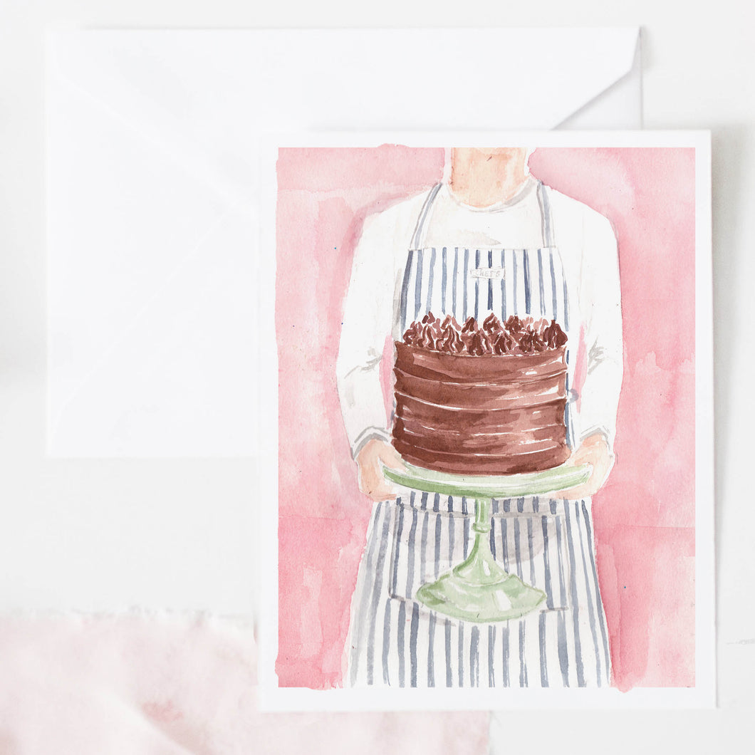 chocolate birthday cake on pink watercolor background greeting card