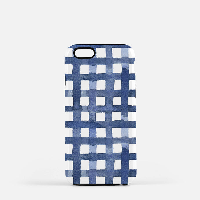 Navy Gingham Watercolor iPhone Case