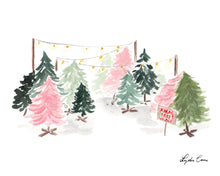 Load image into Gallery viewer, Christmas Trees Art Print