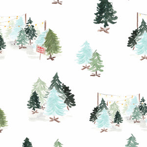 blue retro christmas trees wrapping paper the illustrated life