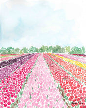 Load image into Gallery viewer, tulip fields watercolor art print