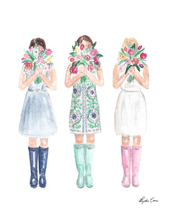 Girls with Tulips Art Print