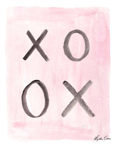 pink and black hugs and kisses watercolor art print