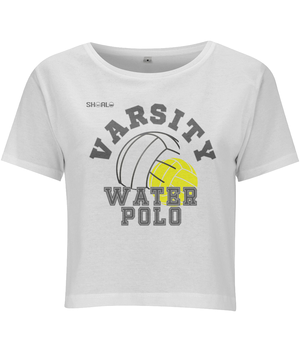 SHOALO Varsity Water Polo - Women's Cropped Short-Sleeve Top - White - Front