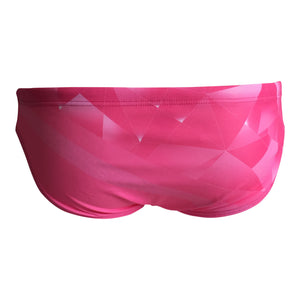 Back - SHOALO Broken Glass - Men's WP Swim Briefs / Trunks - PINK
