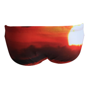 Back - SHOALO Sunset - Men's WP Swim Briefs / Trunks