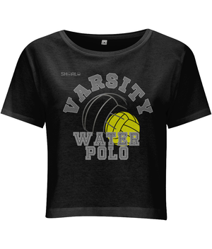 SHOALO Varsity Water Polo - Women's Cropped Short-Sleeve Top - Black - Front