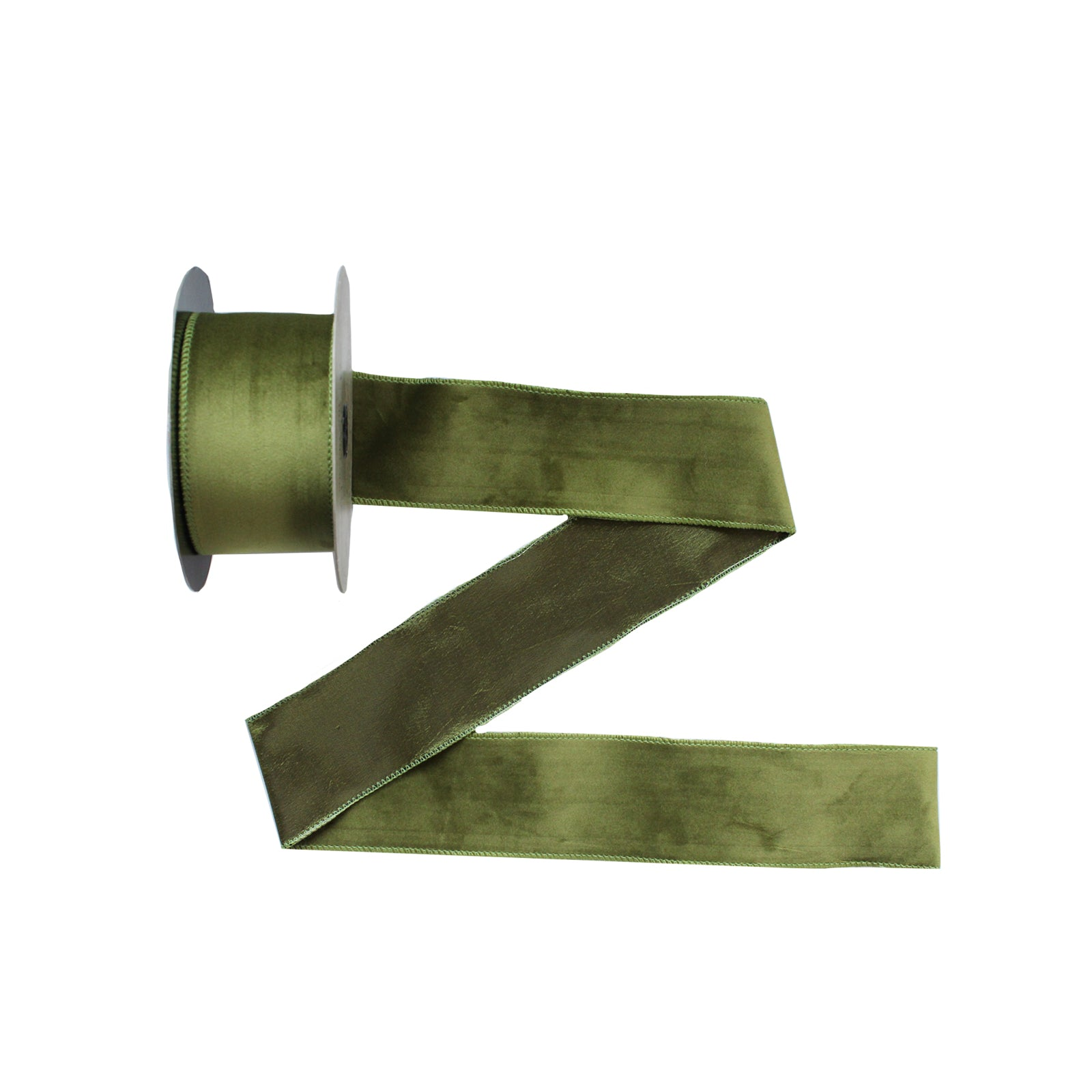 Moss Velvet Wired Ribbon