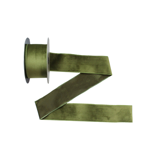 Wired Green Velvet Ribbon