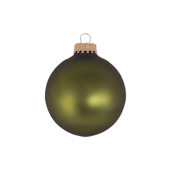 Deep Green Glass Globe Ornament Set