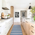 Rugby Stripe Rug in Natural and Slate Blue