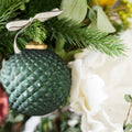 Green & Brass Glass Ornament
