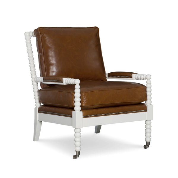 Abbey Leather Spool Chair