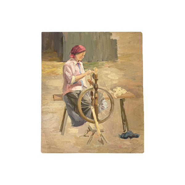 Antique Oil on Canvas - Spinning Wheel