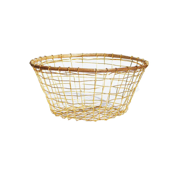 Brass and Cane Vegetable Basket