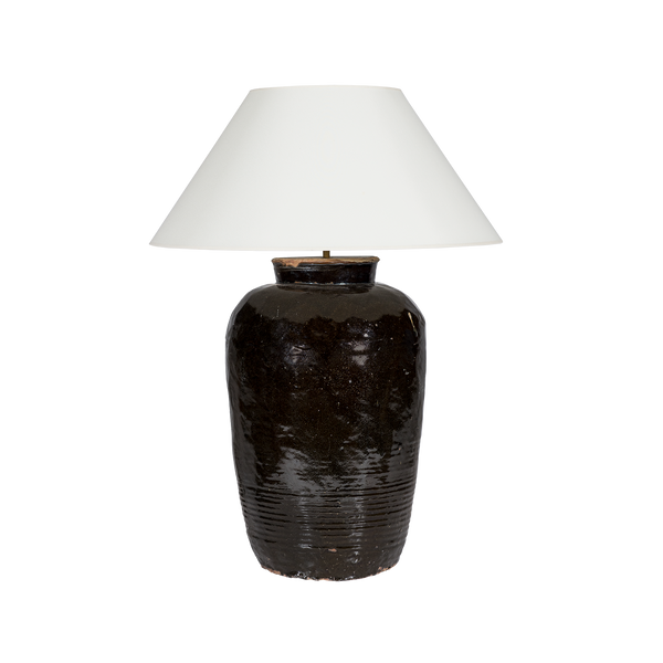 Black Ceramic Oversized Table Lamp with Cone Shade