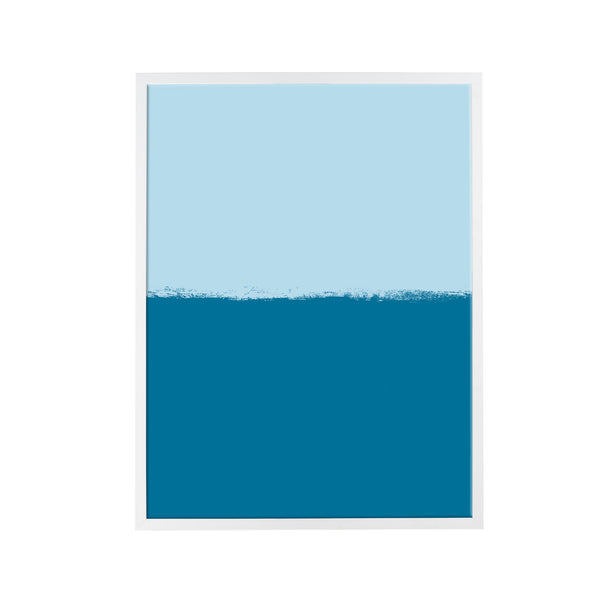 Brushstroke Colorblock Art in Light Blue & Navy