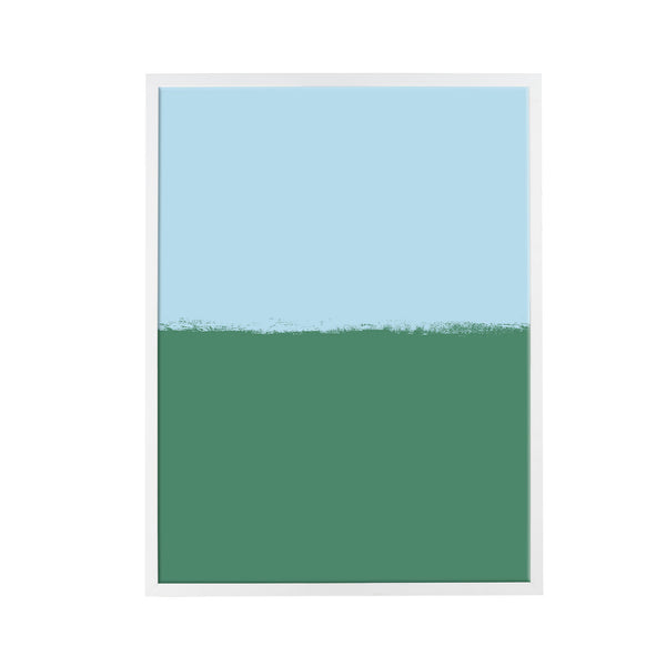 Brushstroke Colorblock Art in Light Blue & Emerald