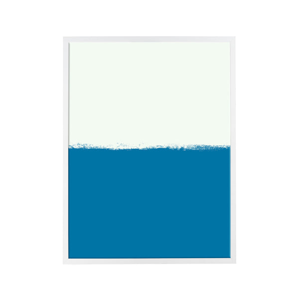 Brushstroke Colorblock Art in White & Navy