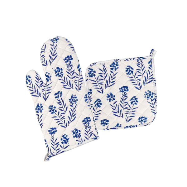 Blue Floral Oven Mitt Set