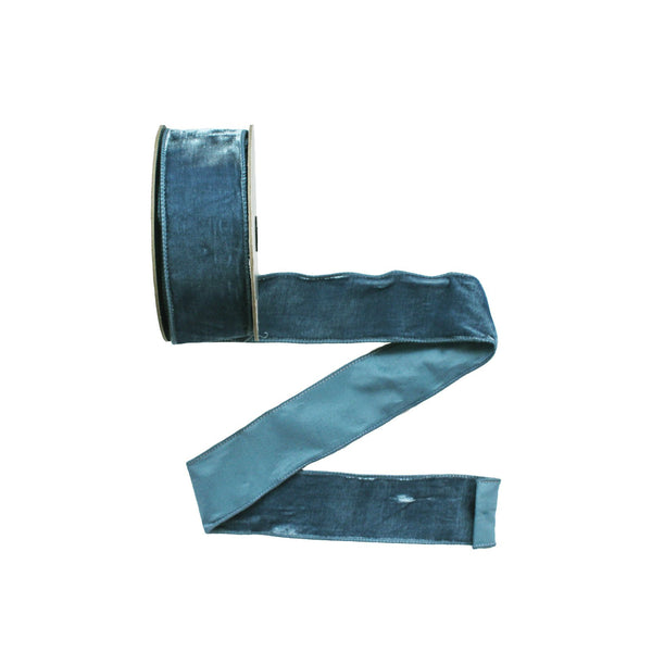 Wired Blue Velvet Ribbon