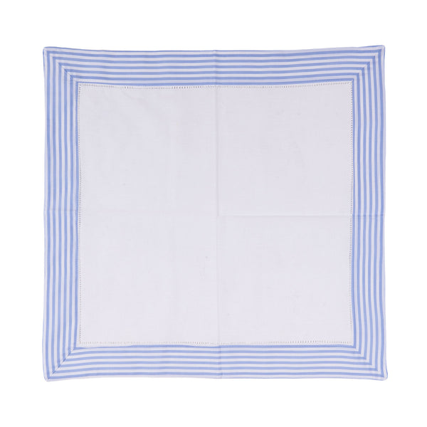 Set of 6 Border Stripe Dinner Napkins - Sky Blue