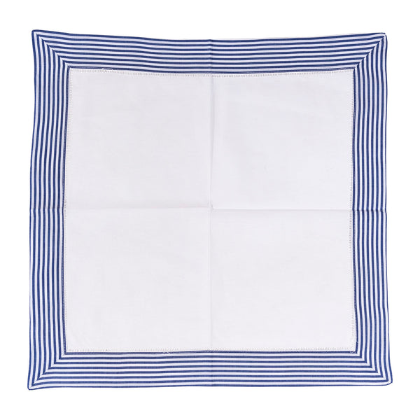 Set of 6 Border Stripe Dinner Napkins - Naval