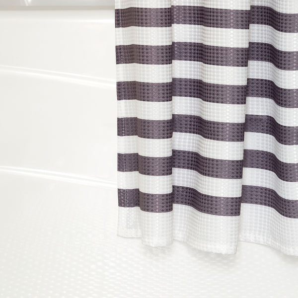 Black and Grey Stripe Shower Curtain