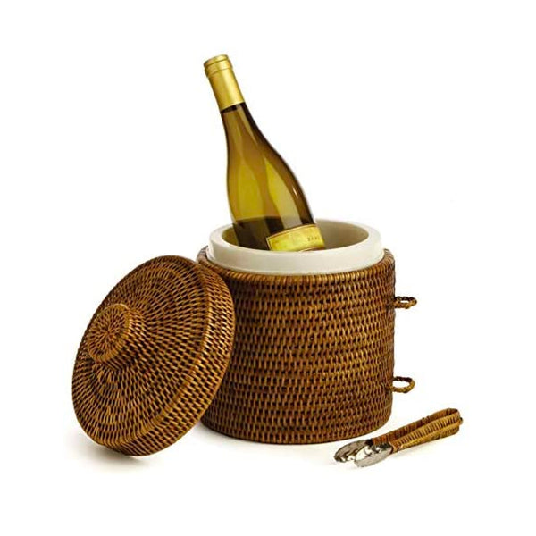 Rattan Ice Box and Tongs