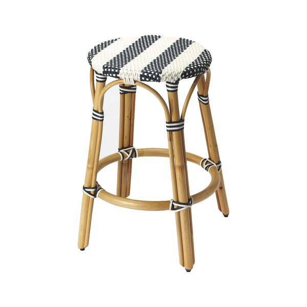 Cabana Stripe Backless Counter Stool in Navy