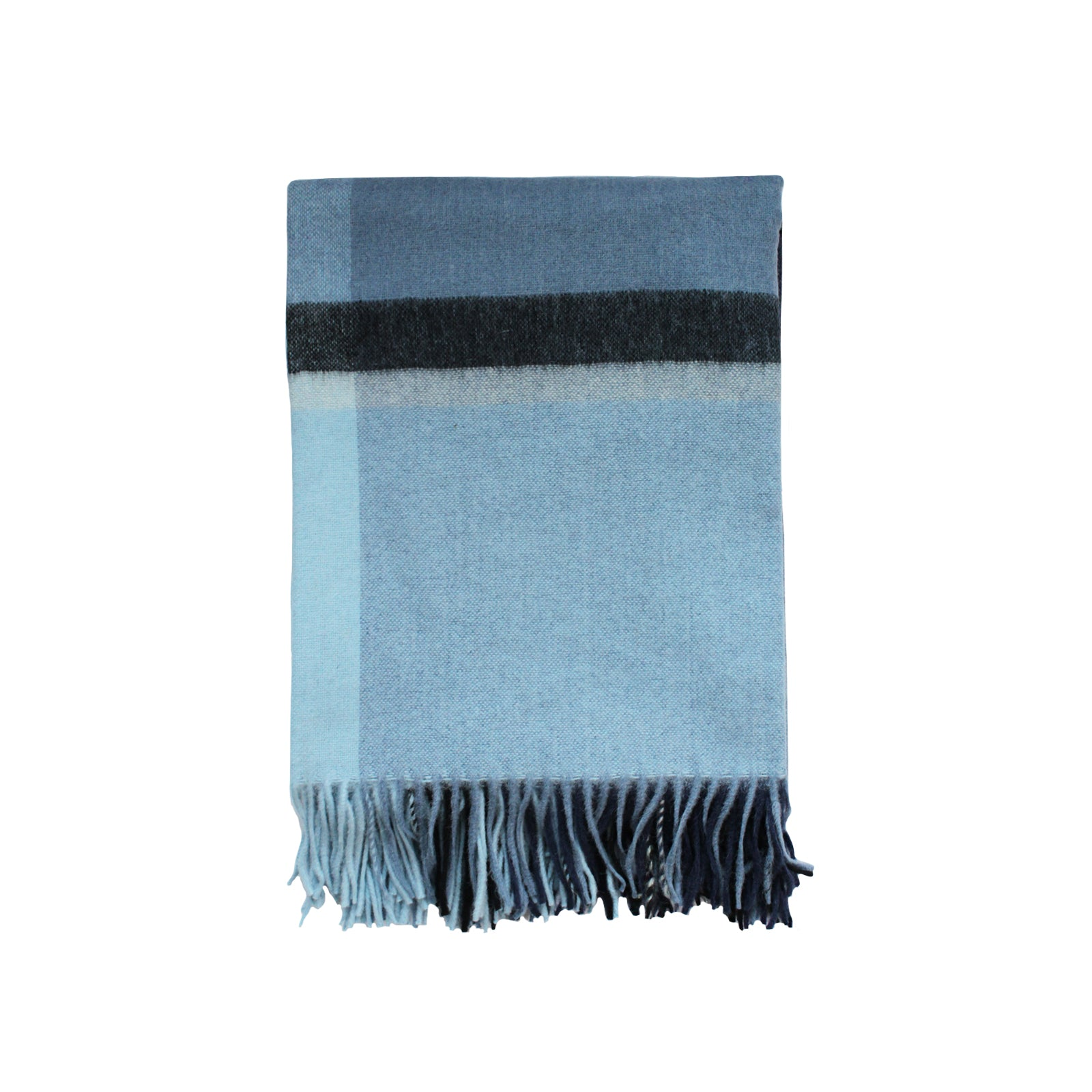 Kennedy Wool Throw in Mixed Blue