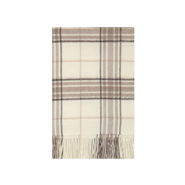 Cashmere Plaid Throw in Cream & Taupe