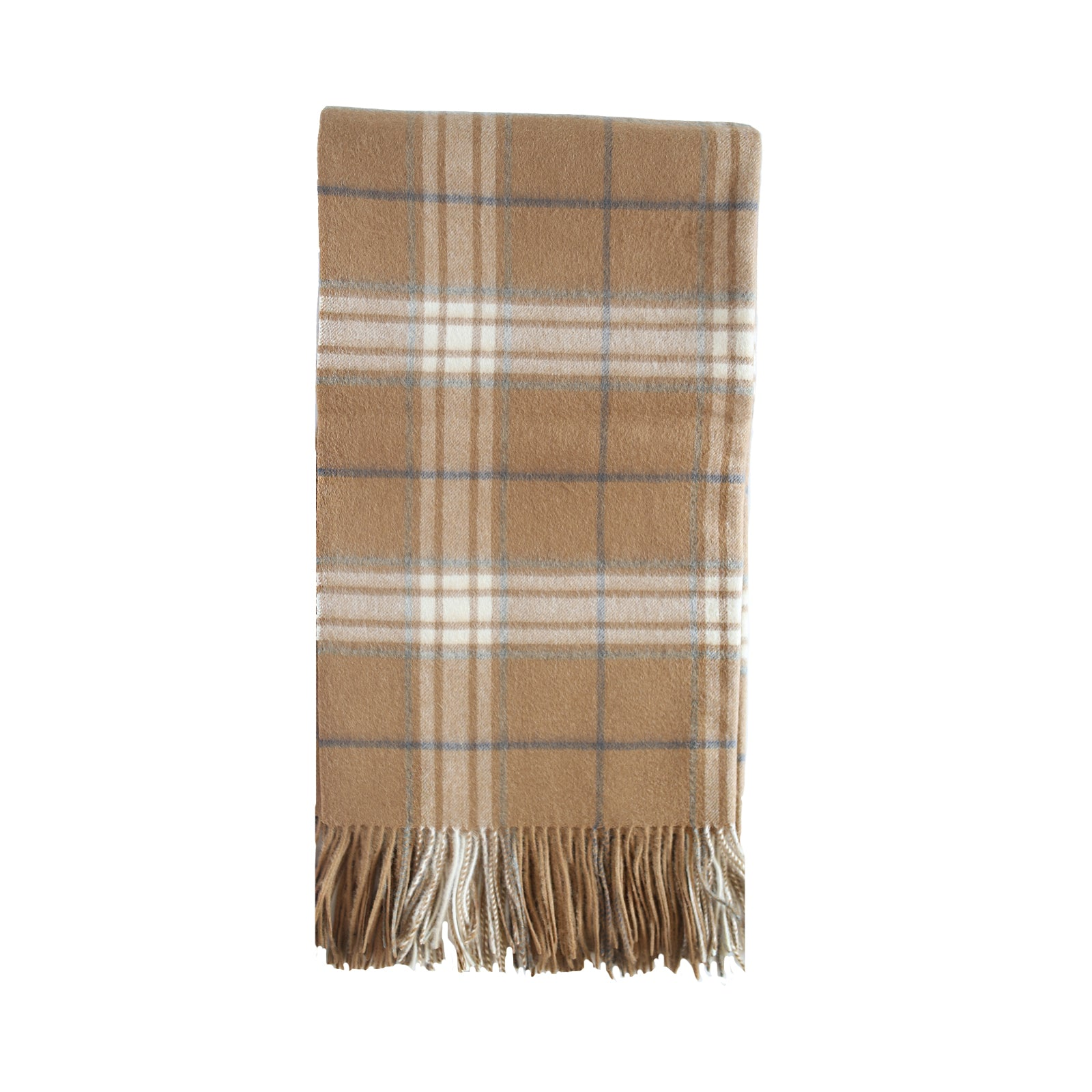 Cashmere Plaid Throw in Camel
