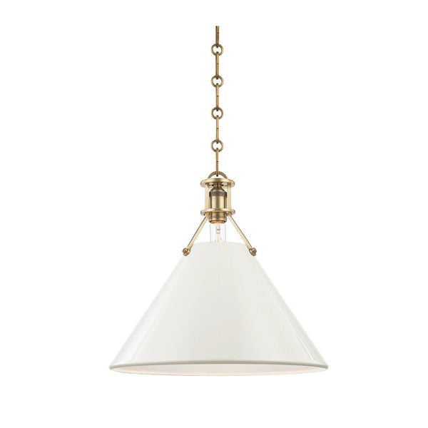 Charles Pendant in Cream and Brass