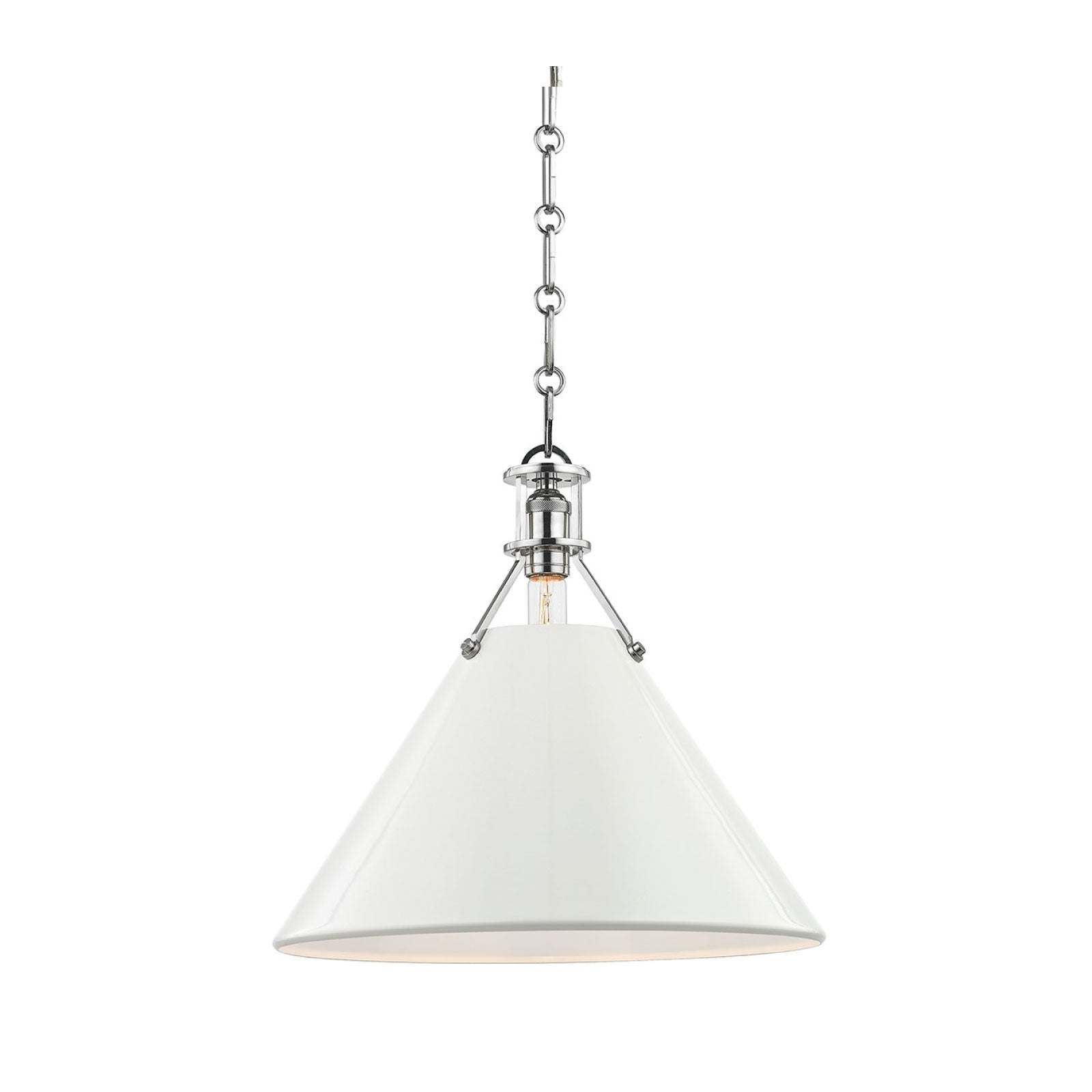Charles Pendant in Cream and Nickel