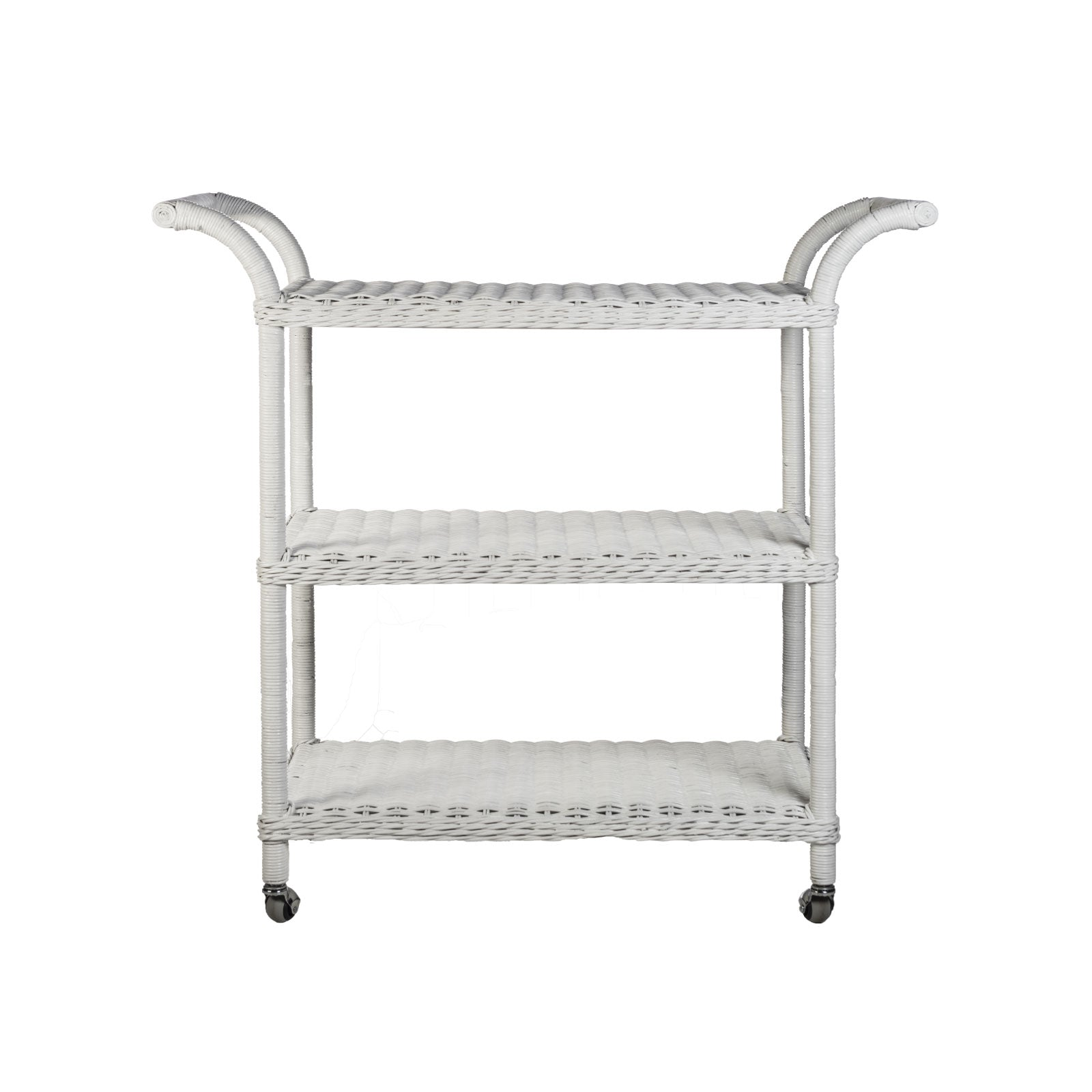 Charlotte Bar Cart in White Wicker