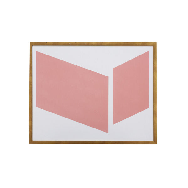 Coral Geometric Print with Brass Frame